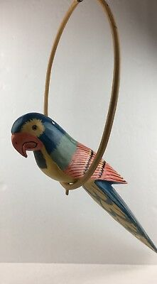 Vtg painted Wood Parrot on Ring Folk Art Tiki Bar Man Cave Bamboo