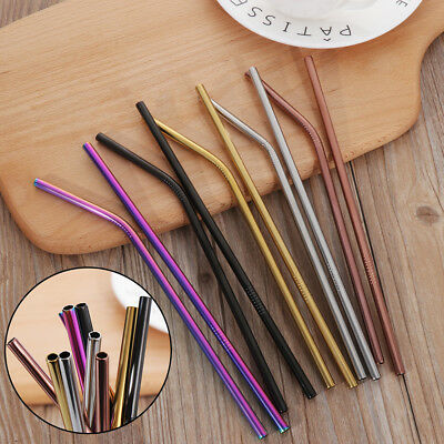 Stainless Steel Metal Drinking Straws Straight/Bent Reusable Washable with Brush