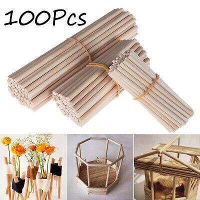 100PCS Wooden Round Dowel Rods Sticks For Crafts Woodworking DIY Building Mode