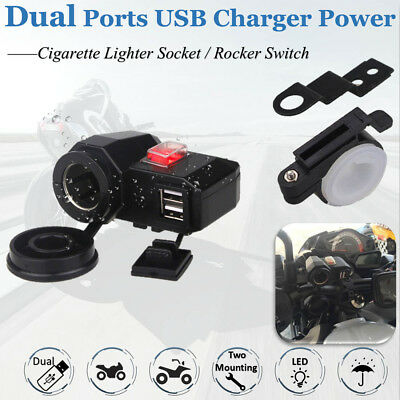 Motorcycle Car USB Phone Charger Cigarette Lighter Socket Power Adapter Outlet
