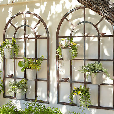 set of 2 PROVINCIAL FRENCH arch orangerie wall planter decor RUST art  NEW