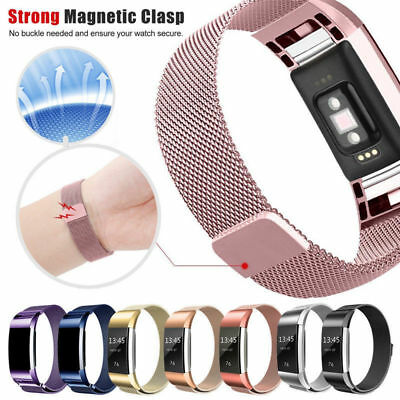For Fitbit Charge 2 Strap Replacement Milanese Mesh Band Stainless Steel Magnet