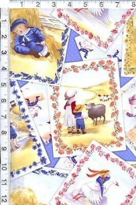 NURSERY RHYMES MOTHER Goose Characters Patch Toss Blue Cotton Fabric By The  Yard