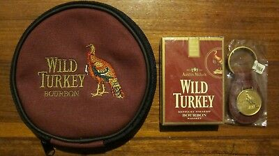 Wild Turkey Bourbon Gift Set Playing Cards Keyring CD Case NEW