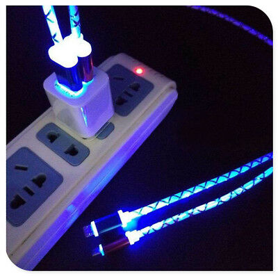 Led Glowing Light Up Usb Charger Charging Cable Cord Android For Home Car Phone