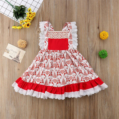 Canis Summer Kids Baby Girls Deer Floral Party Pageant Sleeveless Dress Clothes