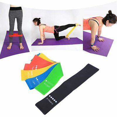 Set of 5 Resistance Exercise Loop Bands Home Gym Fitness Premium Natural Latex E