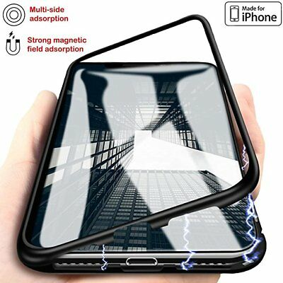 Magnetic Adsorption Metal Bumper Back Case Cover For Phone X 10 6 6s 7 8 Plus