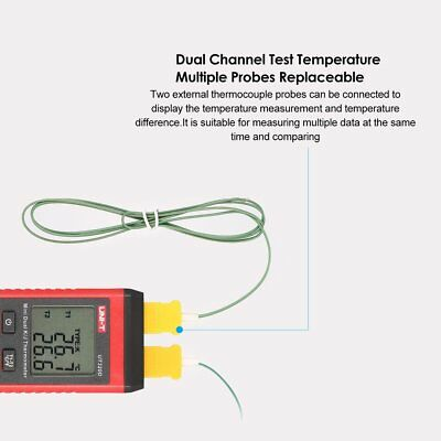 UNI-T K/J Type Dual-CH Digital Thermocouple Temperature Thermo Meter 0~260℃XL