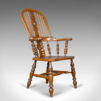 Antique Windsor Armchair, Victorian, Yorkshire Broad Arm Elbow Chair, Circa 1900