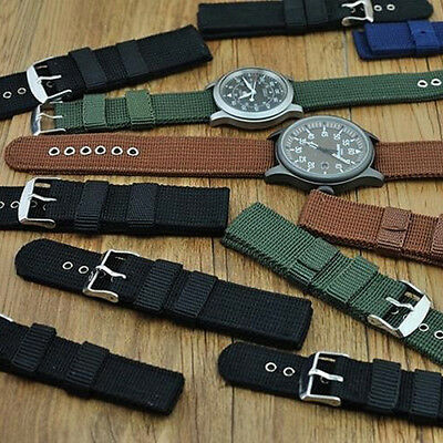 18,20,22,24mm Men's Nylon Military Replacement Watch Band Buckle Wrist Strap Wo
