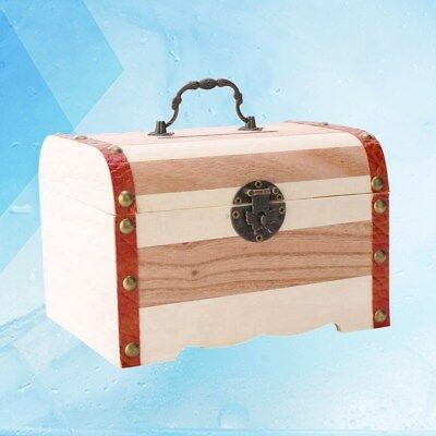 Coin Box Creative Wooden Vintage Money Container Treasure Organizer without Lock