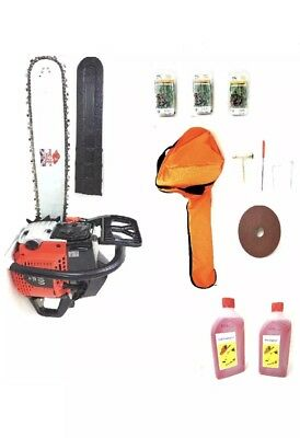 """Powerful 58CC Petrol Chainsaw 20"""" with 3 Chains & Free Oil & Carry Case"""