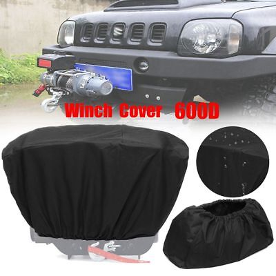 600D Winch Dust Cover Soft Black Waterproof 8,000-17,500 lbs Trailer ATV SUV UK