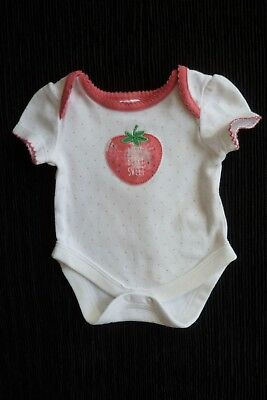 Baby clothes GIRL premature/tiny<5lbs/2.3kg white/pink spots,strawberry bodysuit
