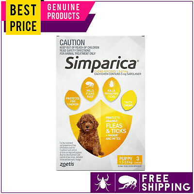 SIMPARICA Flea and Tick treatment for Puppies 1.3 to 2.5 Kg YELLOW 3 Doses