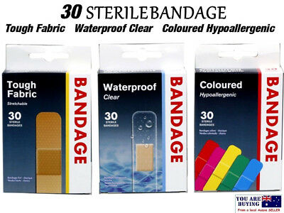 Bandage 30pc Waterproof Sterile Clear Fabric Band Tough Coloured Tape First Aid