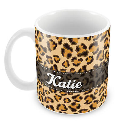 Personalised Mug LEOPARD PRINT Add your NAME Gift Idea novelty Coffee cup 89