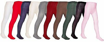 New *2 Pair Pack* Girls Plain Cotton Rich Knitted Nifty Back To School Tights