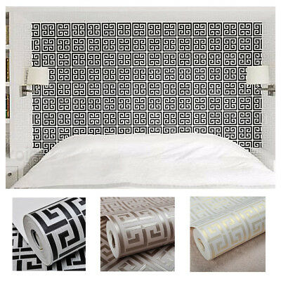 Modern PVC Waterproof Gold White Geometric Wallpaper Living Room Paper Roller