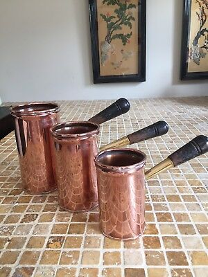 Early 20th C Set Of 3 Copper Measuring Cups With Wooden Handles