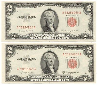 1953-B $2 Legal Tender Note Set of 2 Consecutive Serial Numbers, UNC [3731.01]