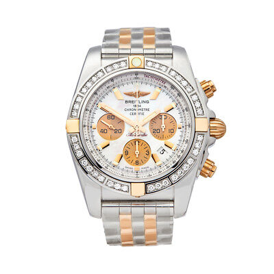 Breitling Chronomat Stainless Steel 18k Rose Gold Watch Ib011053 A697 W5261