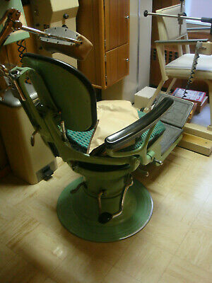 Antique Green Dentist Chair Tattoo dental doc muesum gorgeous w/ hydraulics vtg