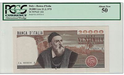 Italy 20,000 Lire 21.2.1975 Pick# 104 Pcgs # 50 About New ( #780 )