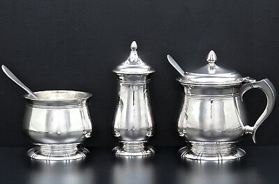 Unique Sterling silver condiment set designed by A. E. Pittman London 1953