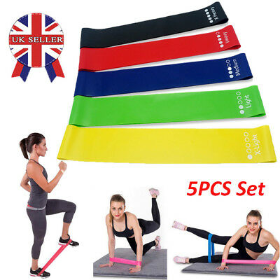 Set of 5 Resistance Bands Loop Set Exercise Sports Fitness Home Gym Yoga Latex M