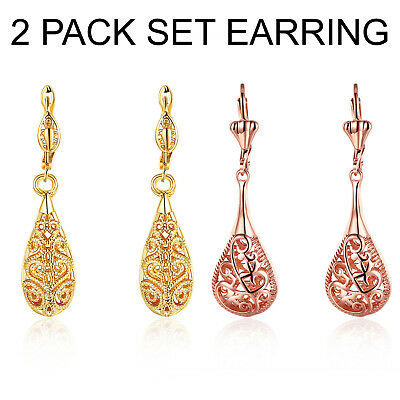 2 PACK SET: Laser Cut Drop Lever Back Earrings 14K Gold Plated and Rose 43mm