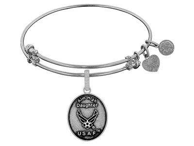 Angelica Brass White Finish Aim High Daughter U.S. Air Force Expandable Bangle