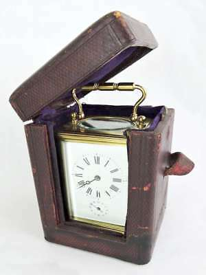 Brass French CARRIAGE CLOCK with CHIME & ALARM in Original Travel Case c.1900