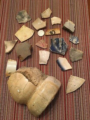 Antique plate and ceramic shards recovered from Canarsie Beach, Brooklyn, NYC