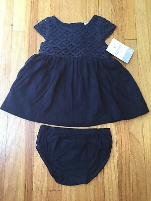 NEW NWT Carters Baby Girls 3 Months Navy Blue Lace Dress W/ Diaper Cover Summer