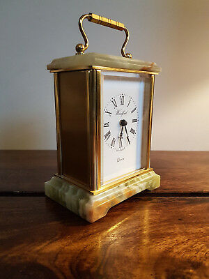 Woodford Quartz Onyx & Brass Carriage Clock with Roman Numeral Dial (Classic)