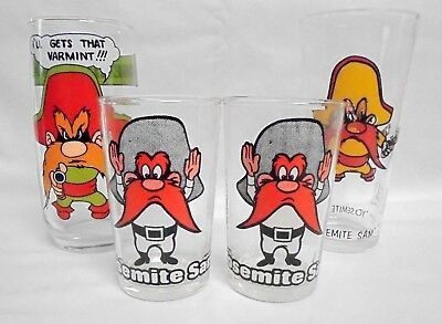 Yosimite Sam 4 Glass Lot 1972 Pepsi, 1980 Looney Tunes Arby's & 2 Jelly 1976