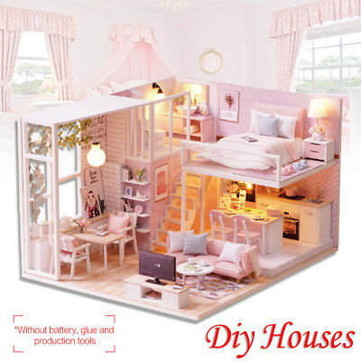 DIY Wooden Cottage Dollhouse Miniature Kit Dolls House W/ Furniture LED Light