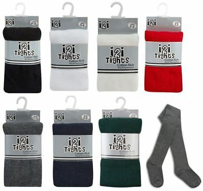 New Girls *2 Pair Value Pack* I2I Cotton Rich Knitted Everyday School Tights