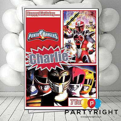Personalised Power Rangers Birthday Card Any Name Bc068 Large A5