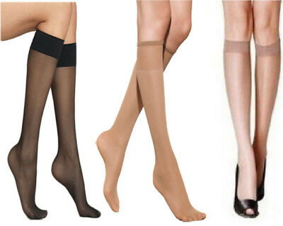 New Womens *Multipack Saving* 15 Denier Comfort Top 5 Colour Knee High Pop Socks