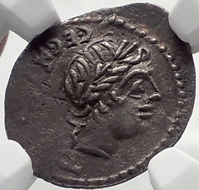 Roman Republic Ancient Silver Coin of Rome APOLLO TROPHY Quinarius NGC i70174