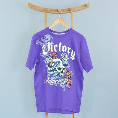 Retro Men's John Devin Victory Cotton Purple Tattoo TShirt Vintage Small 36 38