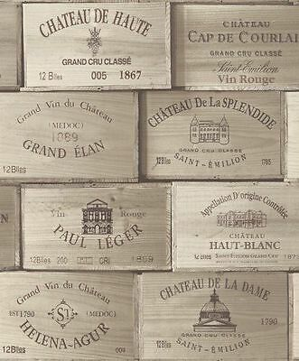 PE11020 Galerie Exposed Wallpaper Wooden French Wine Boxes Brown Grey White