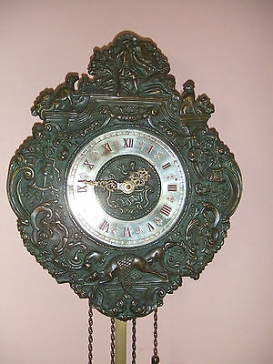 Antique German Bronze Wall Clock