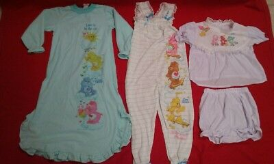 CARE BEARS vintage 1980s girls nightgown, 2 pc outfit & romper (outfit) Sears
