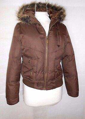 Girls Brown  Hooded Jacket Puffa Bomber Padded Tammy Age 15-16