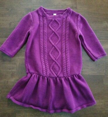 3dcbfb46112 Cherokee Girls 3 4 Sleeve Sweater Dress Size Medium 7-8 Pink Magenta Cable
