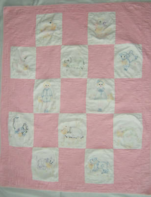 """Vintage Hand Embroidered Baby Quilt 47"""" x 38"""" Pink and White"""